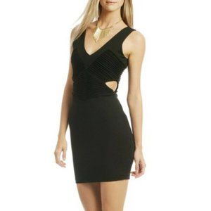 Parker Claudia Black Ribbed Cut-Out Bodycon Dress